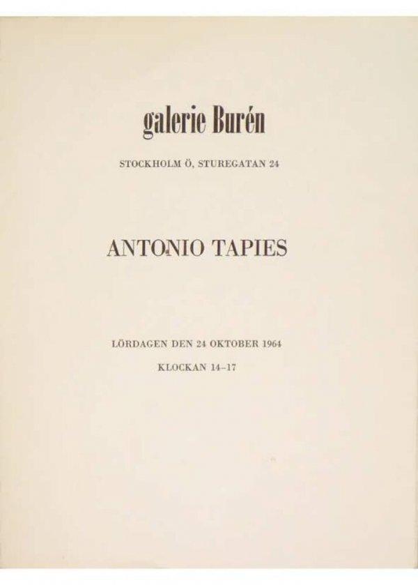 Antonio Tapies : lördagen den 24 oktober 1964, Galerie Burén