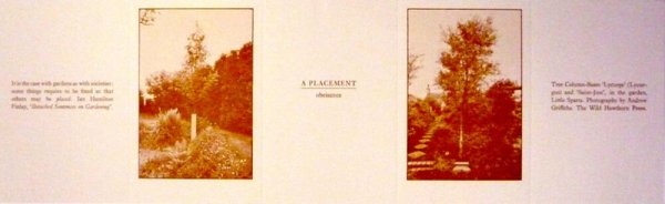 A placement : obeisance / Ian Hamilton Finlay ; photographs by Andrew Griffiths
