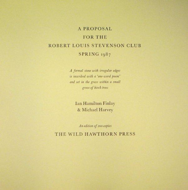 A proposal for the Robert Louis Stevenson Club : spring 1987 / Ian Hamilton Finlay & Michael Harvey