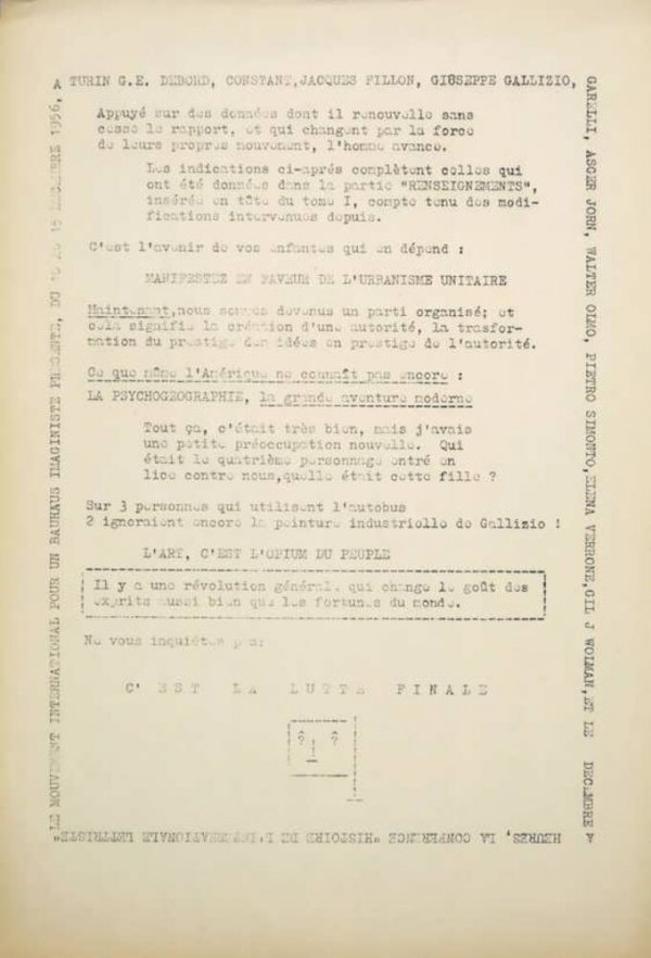 Le Mouvement international pour un Bauhaus imaginiste présente, du 10 au 15 decembre 1956, à Turin G. E. Debord, Constant, Jacques Fillon, Giuseppe Gallizio, Garelli, Asger Jorn, Walter Olmo, Pietro Simonto, Elena Verrone, Gil J. Wolman, et le déc