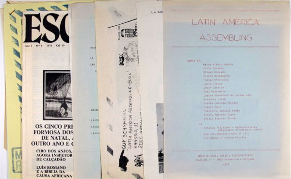"Latin America assembling / works by Artur Alipio Barrio ... [et al.] & catalog ""Éditions & communications marginales d'Amérique Latine"", one information sheet on CAYC, one issue of review Escrita"