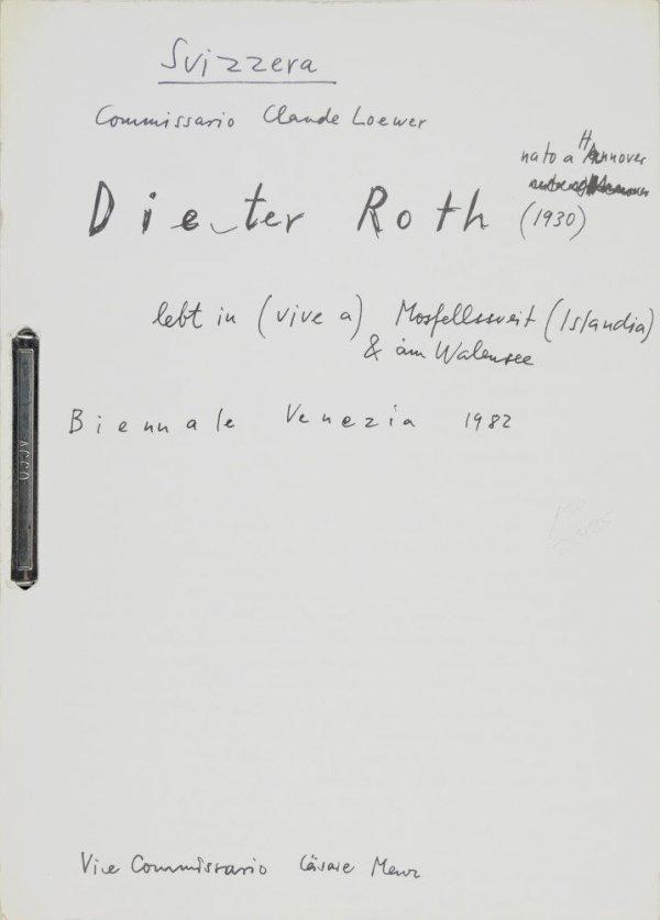 Suizzera, Commissario Clause Loewer : Dieter Roth, nato a Hannover (1930), lebt in (vive a) Mosfellssweit (Islandia) & am Walensee : Biennale di Venezia 1982 / Dieter Roth