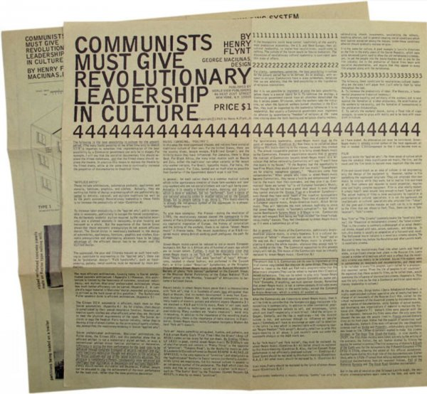 Communists must give revolutionary leadership in culture / by Henry Flynt ; George Maciunas, design