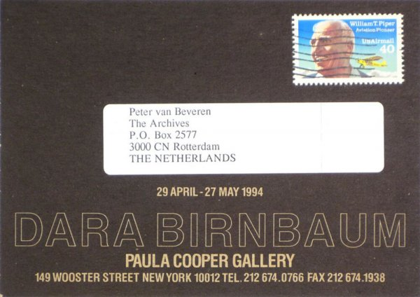 Dara Birnbaum : 29 April - 27 May 1994, Paula Cooper Gallery