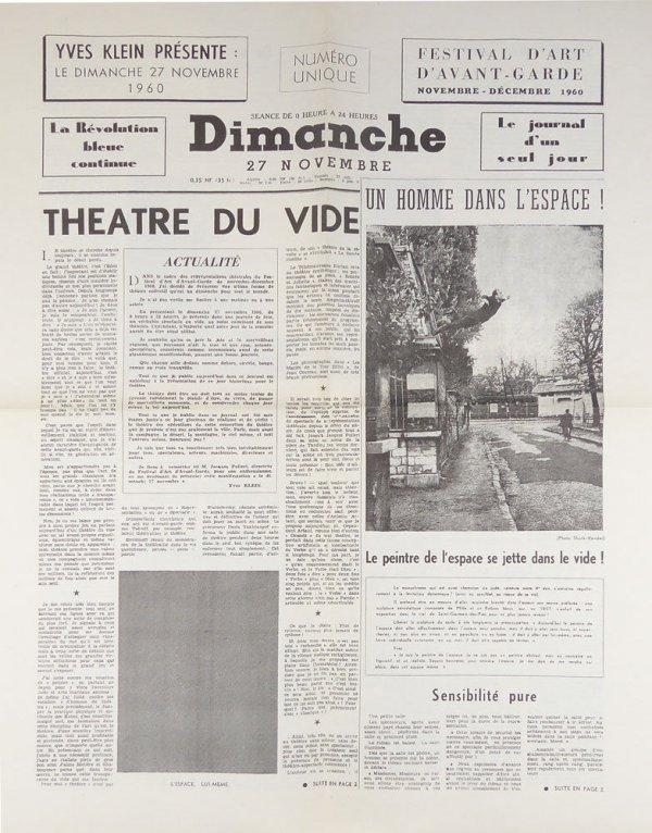 Dimanche, 27 novembre 1960 : Festival d'art d'avant-garde, novembre-décembre 1960 : la révolution bleue continue : le journal d'un seul jour : numéro unique
