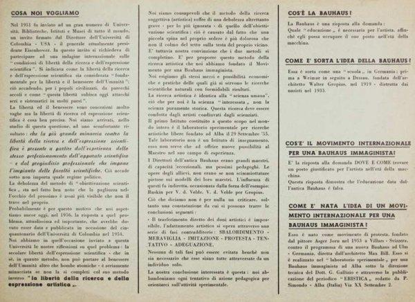 Cosa noi vogliamo [Bauhaus immaginista]