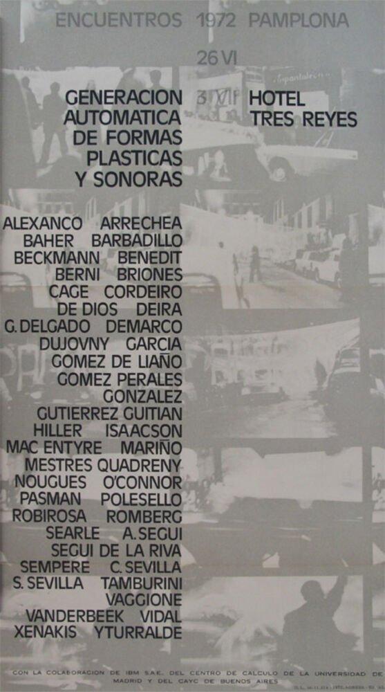 Encuentros 1972, Pamplona. Meetings. 26 VI-3 VII. Organización: ALEA. Patrocinados por la Excma. Diputación Foral de Navarra, Excmo. Ayuntamiento de Pamplona