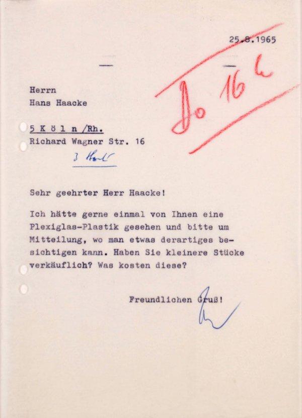 Carta : Mönchengladbach, a Hans Haacke, Köln, 1965 ag. 25
