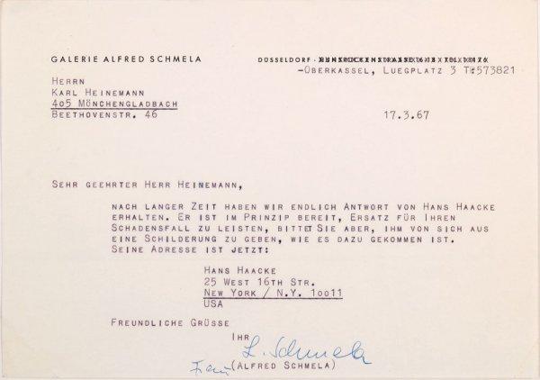 Carta : Dusseldorf, a Karl Heinemann, Mönchengladbach, 1967 març 17