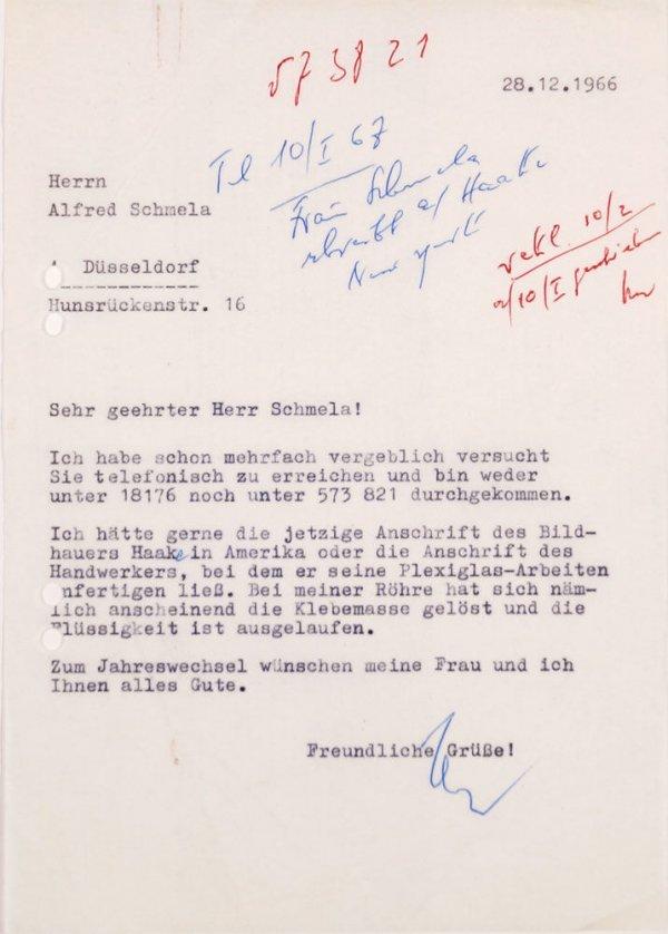 Carta : Mönchengladbach, a Alfred Schmela, Dusseldorf, 1966 des. 28
