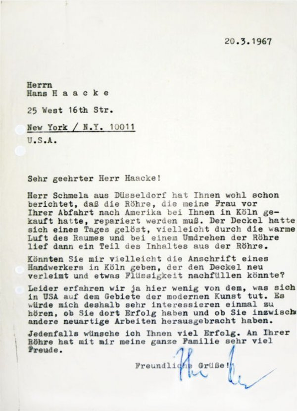 Carta : [Mönchengladbach], a Hans Haacke, Nova York, 1967 març 20