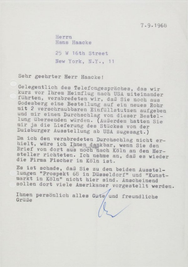 Carta : [Mönchengladbach], a Hans Haacke, Nova York, 1968 set. 7