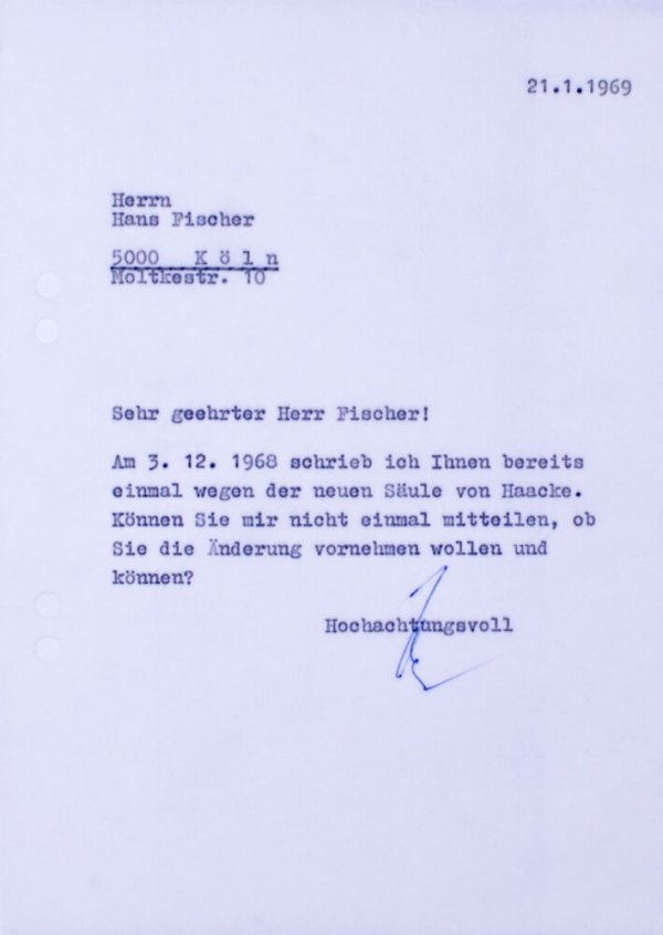 Carta : [Mönchengladbach], a Hans Fischer, Colònia, 1969 gen. 21