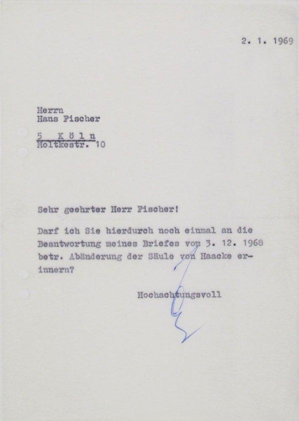 Carta : [Mönchengladbach], a Hans Fischer, Colònia, 1969 gen. 2