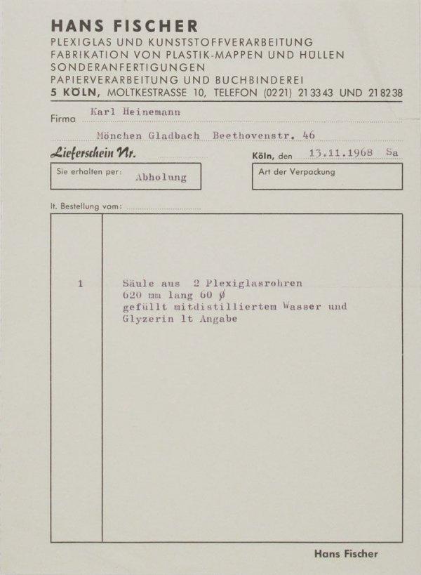 [Factura de Hans Fischer a Karl Heinemann, 13.11.1968]