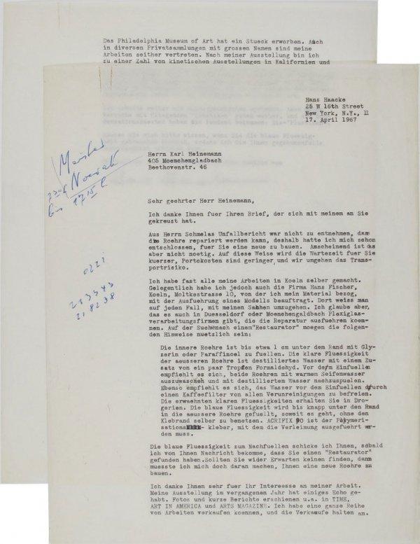 Carta : Nova York, a Karl Heinemann, Mönchengladbach, 1967 abr. 17