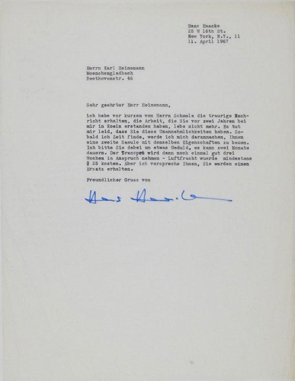 Carta : [Nova York], a Karl Heinemann, Mönchengladbach, 1967 abr.11