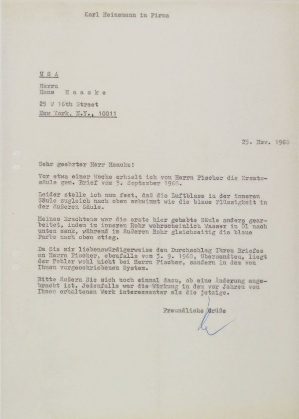 Carta : Mönchengladbach, a Hans Haacke, Nova York, 1968 nov. 11
