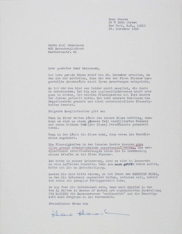 Carta : Nova York, a Karl Heinemann, Mönchengladbach, 1968 nov. 29