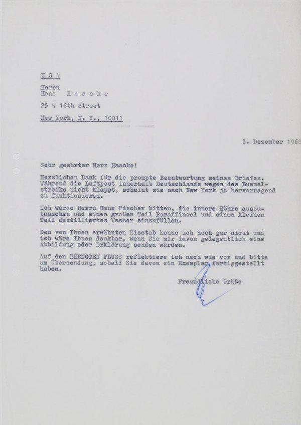 Carta : Mönchengladbach, a Hans Haacke, Nova York, 1968 des. 3