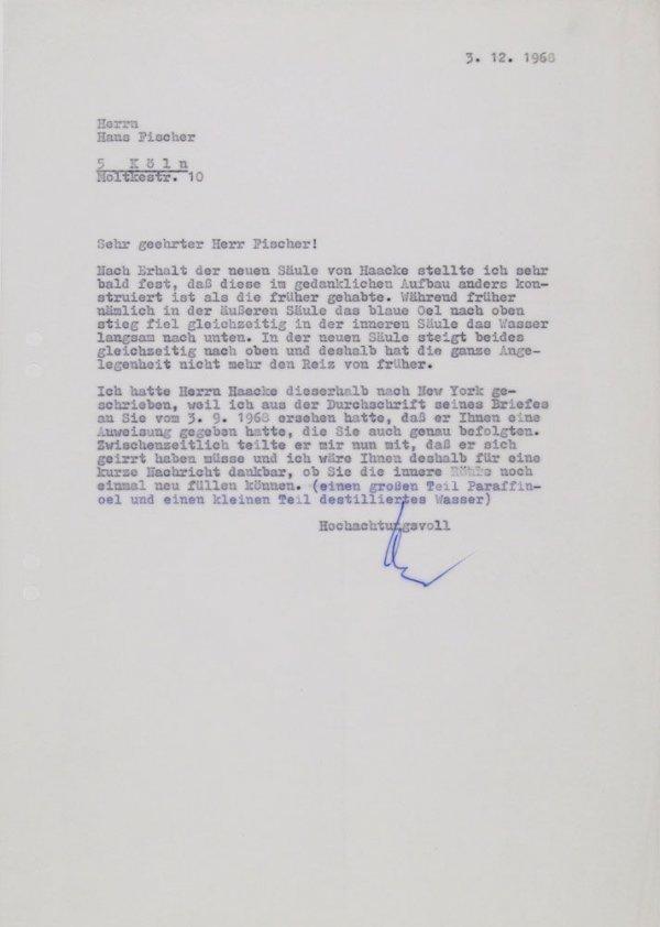 Carta : Mönchengladbach, a Hans Fischer, Colònia, 1968 des. 3
