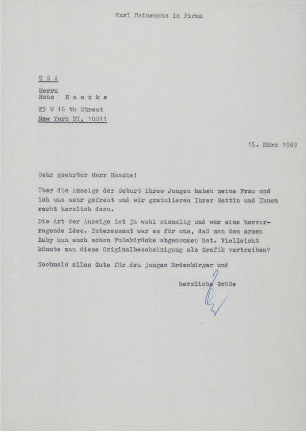 Carta : Mönchengladbach, a Hans Haacke, Nova York, 1969 març 15