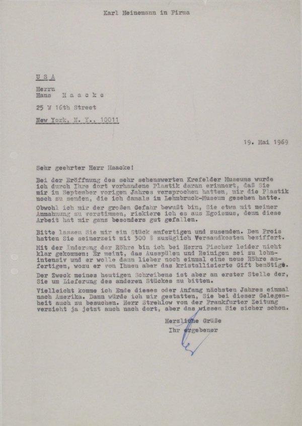 Carta : Mönchengladbach, a Hans Haacke, Nova York, 1969 maig 19