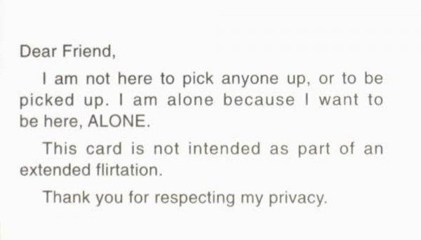 Dear friend : I am not here to pick anyone up, or to be picked up [...] / [Adrian Piper]