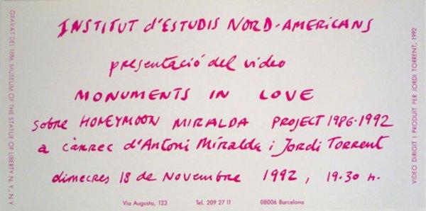 """Institut d'Estudis Nord-Americans presentació del video """"Monuments in love"""" sobre """"Honeymoon Miralda Project 1986-1992"""" a càrrec d'Antoni Miralda i Jordi Torrent"""