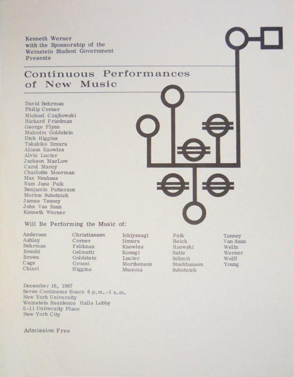 Continuous performances of new music : David Behrman, Philip Corner, Michael Czajkowski [...] : December 16, 1967, New York University