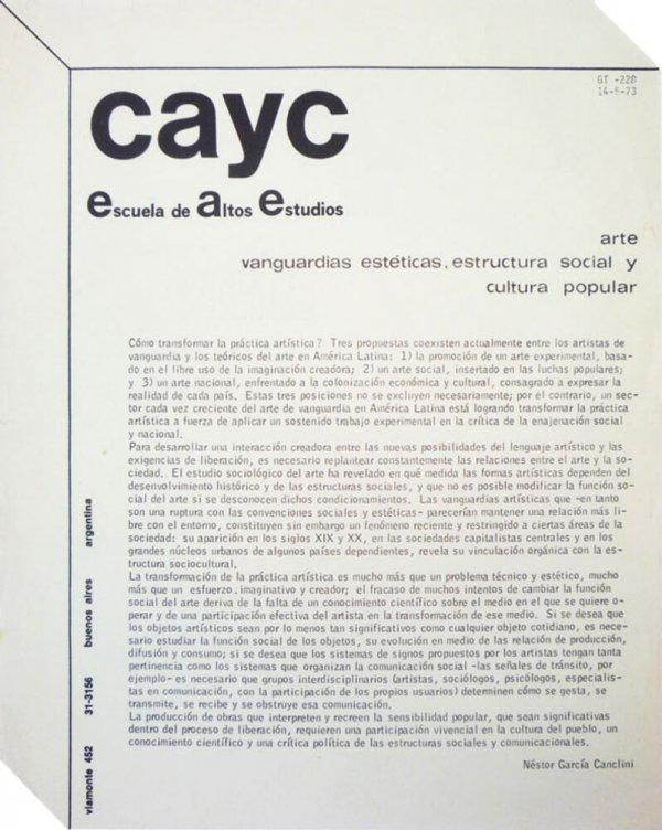CAYC : escuela de altos estudios : arte, vanguardias estéticas, estructura social y cultura popular