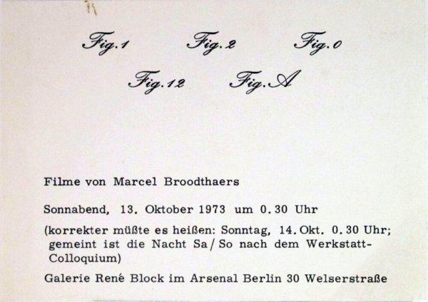 Fig.1 Fig.2 Fig.0 Fig.12 Fig.A : Filme von Marcel Broodthaers / Galerie René Block