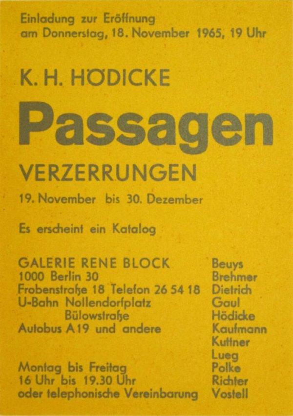 K.H. Hödicke : Passagen : Verzerrungen  / Galerie René Block