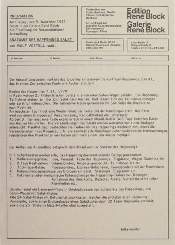 Anatomie des Happenings Salat von Volf Vostell / Galerie René Block