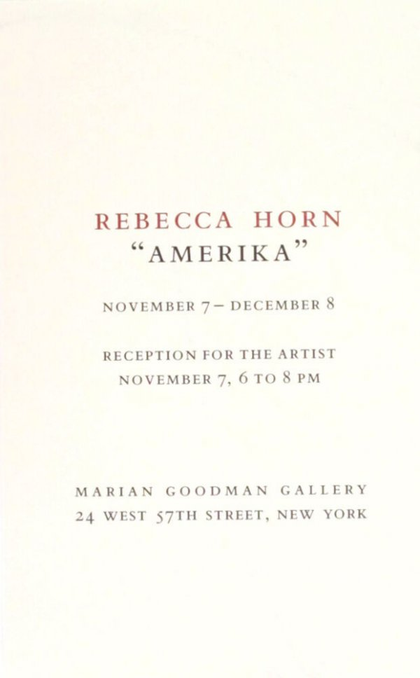 Amerika / Rebecca Horn