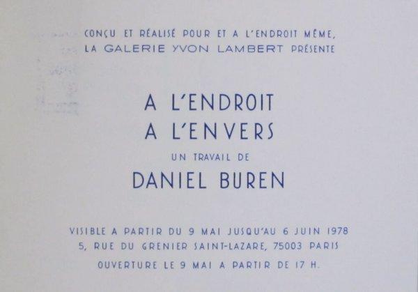 A l'endroit a l'envers : un travail de Daniel Buren