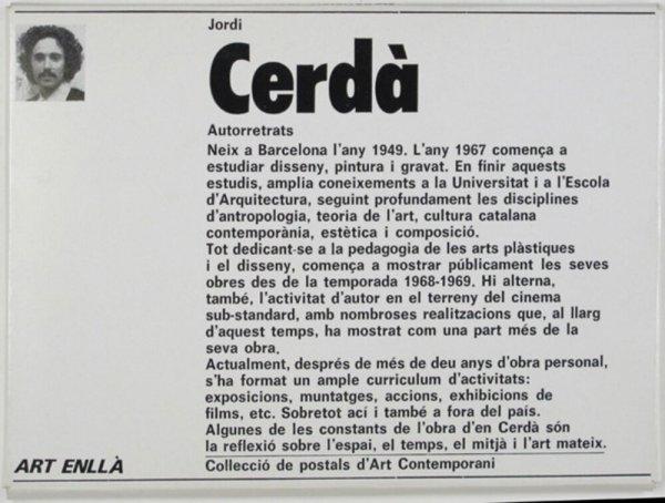 Jordi Cerdà : autorretrats [sic] / [text: Josep Maria Carandell]
