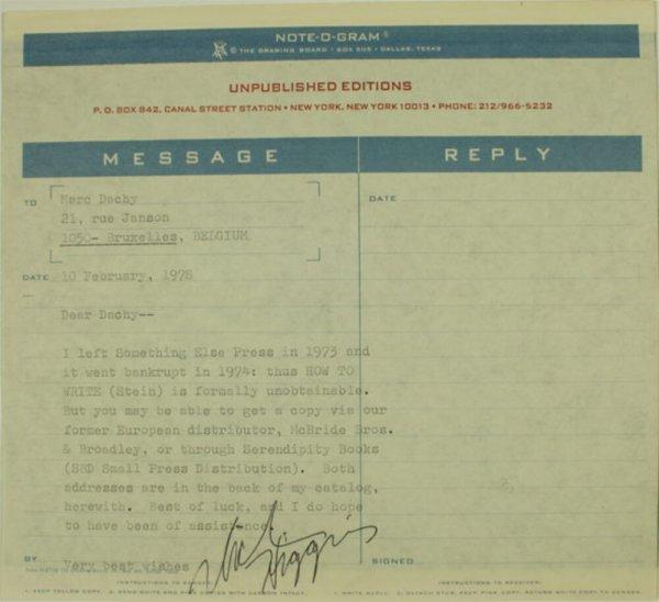 Carta : Nova York, a Marc Dachy, Brussel·les, 1978 febr. 10