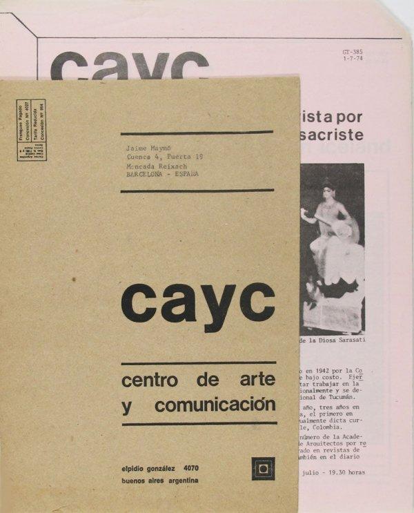 [Conjunt de butlletins publicats per el CAYC, en un sobre]