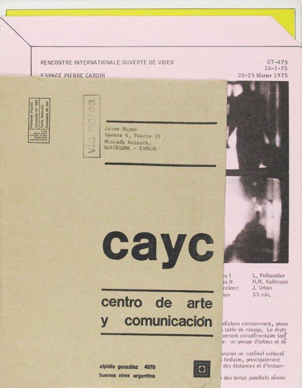 [Conjunt de butlletins publicats per el CAYC, l'Espace Pierre Cardin i la Galleria civica d'arte moderna , en un sobre]