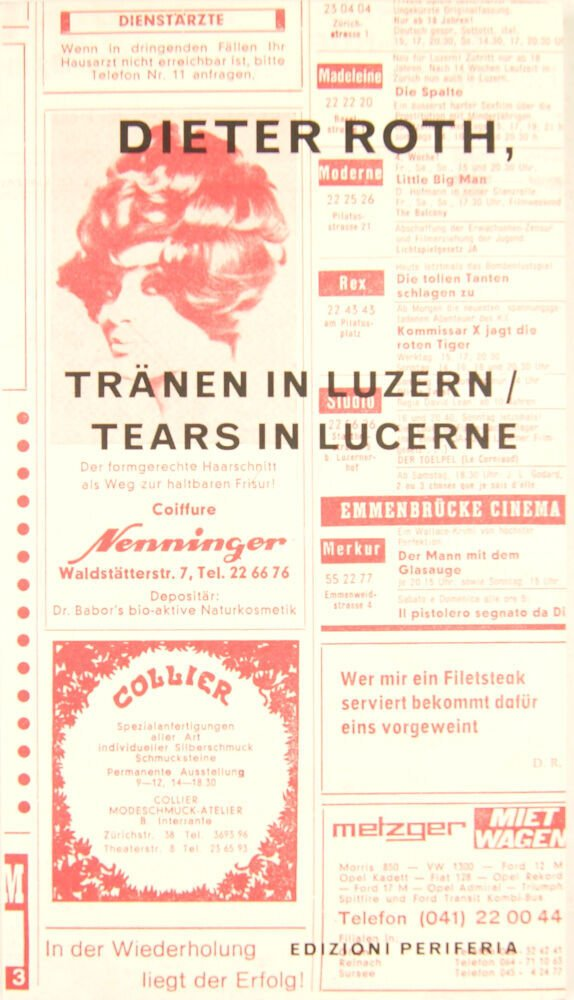 Dieter Roth, tränen in Luzern/tears in Lucerne