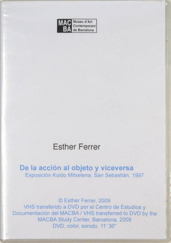 """[Enregistrament audiovisual de l'exposició """"De la acción al objeto y viceversa"""" d'Esther Ferrer a Koldo Mitxelena, San Sebastià]"""