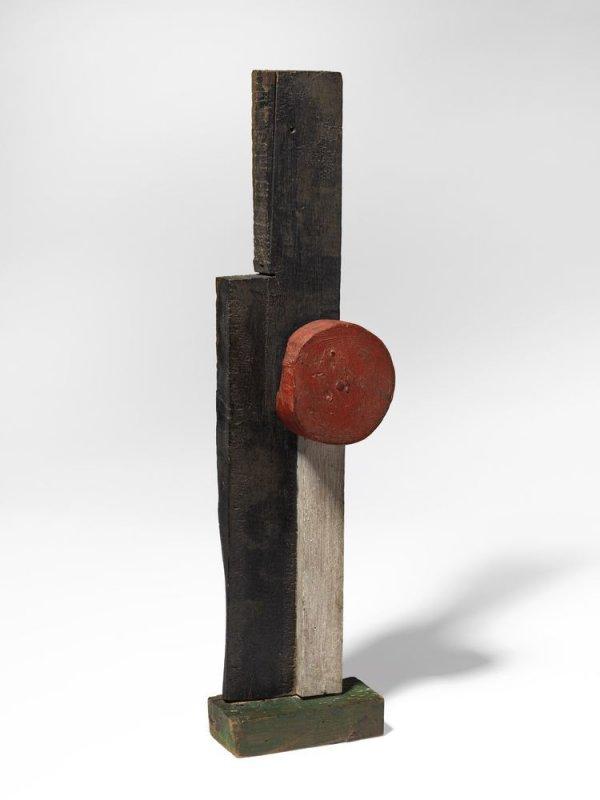 Estructura con varilla blanca y círculo rojo superpuestos