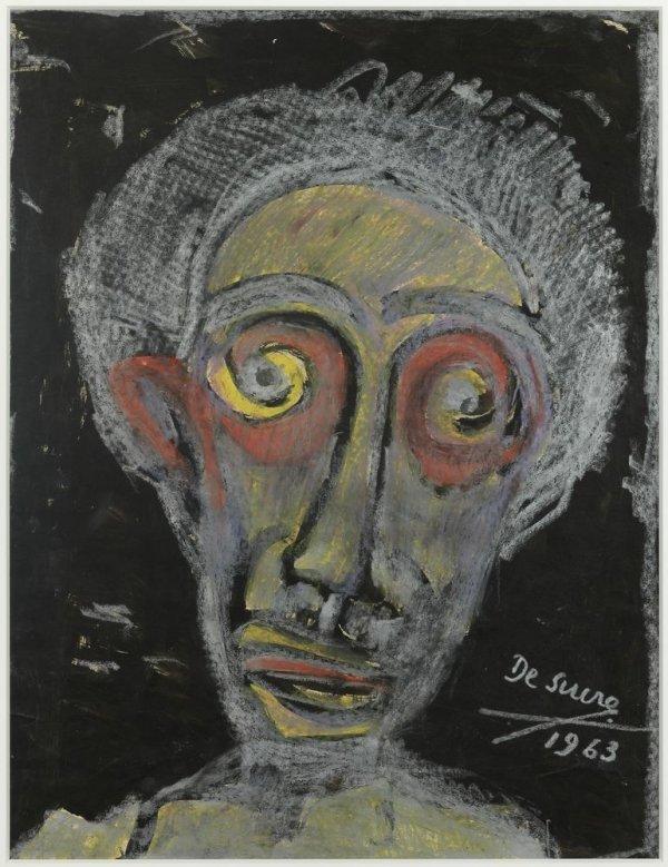 Rostre expressionista amb grisos