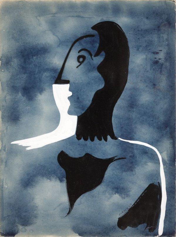 Blanc i negre sobre fons blau