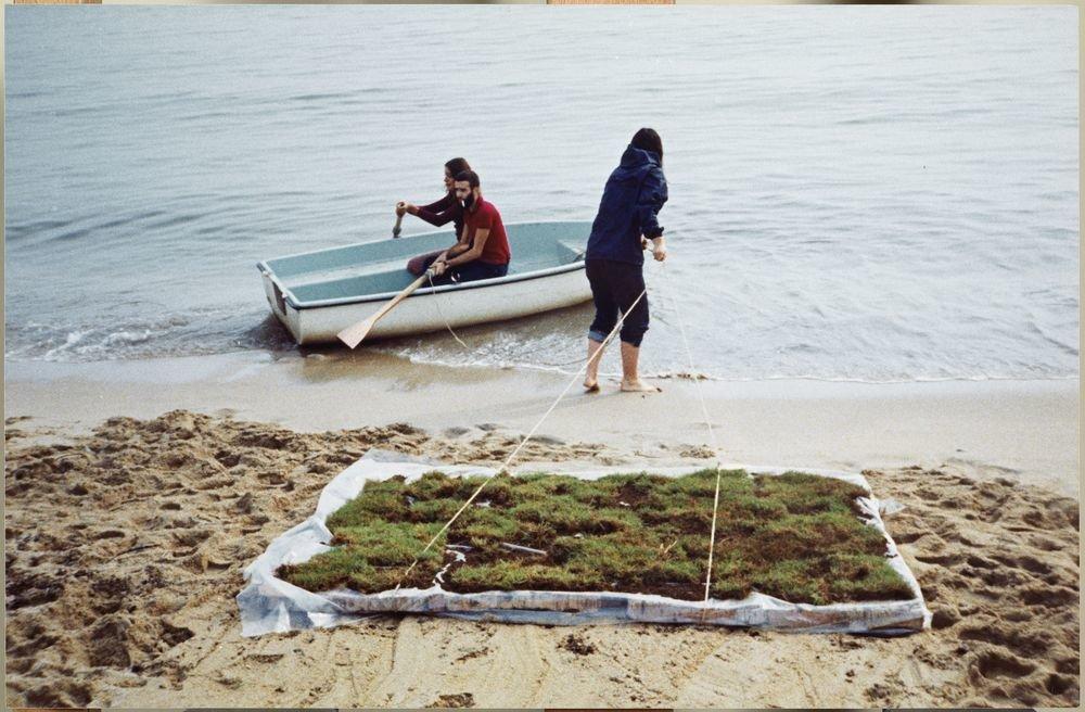 Translacions. Herba flotant al mar [Documentació de l'acció realitzada el novembre de 1973 a Premià de Mar, Espanya]