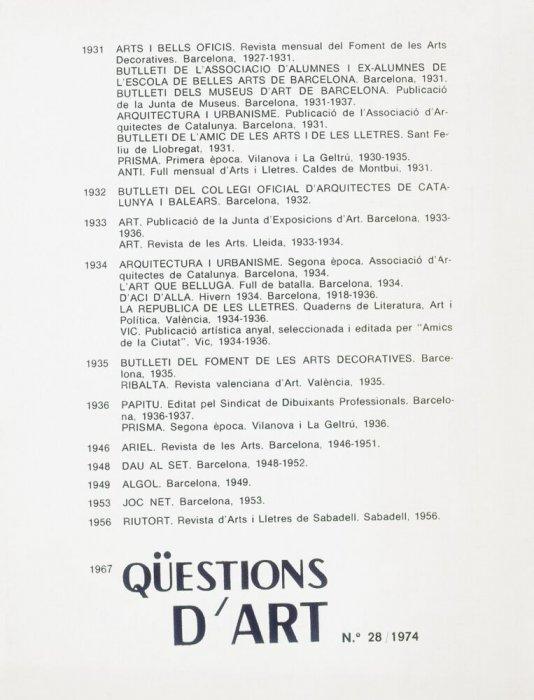 "Revista ""Qüestions d'Art"" núm. 28"