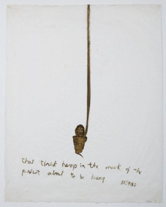 Artaud Painting – That thick hemp in the neck of the priest about to be hung