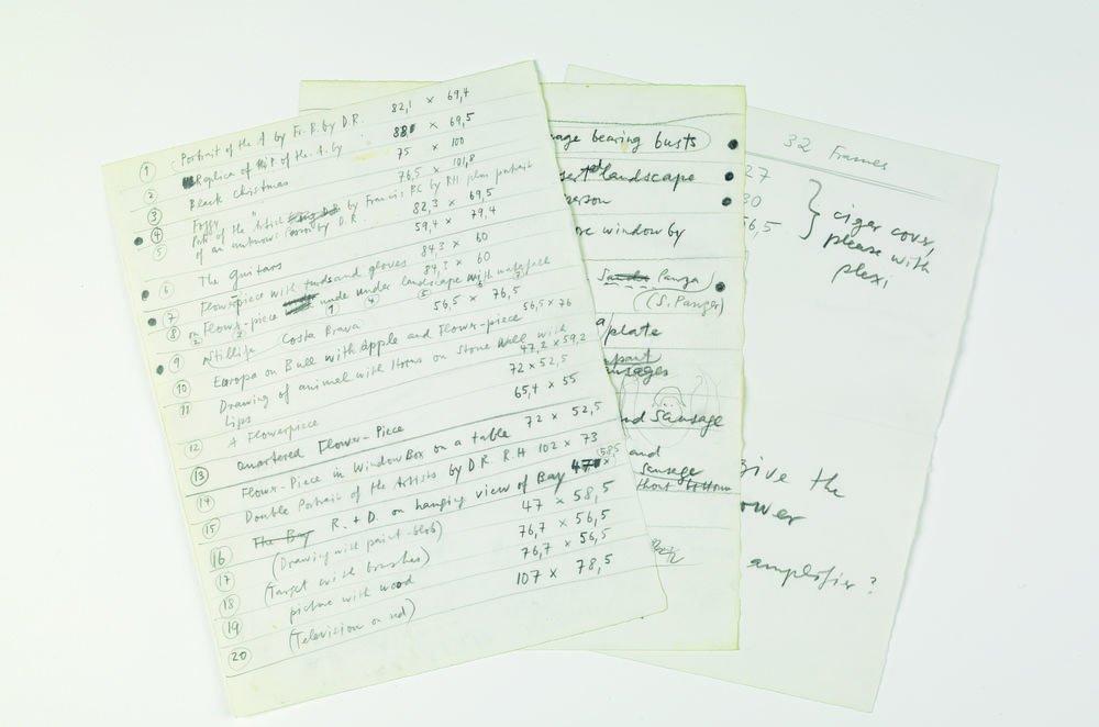 """Escrito original de la relación de exposiciones realizadas bajo el nombre """"Collaborations"""""""