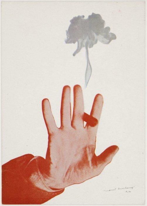 [Postal manuscrita de Teeny dirigida a Lanfranco Bombelli amb la reproducció d'una obra de Marcel Duchamp al revers]